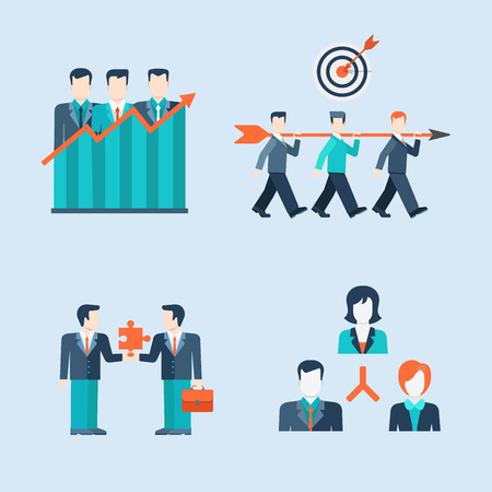 Flat style modern people icons business man situations web template infographic vector icon set. Women businessman lifestyle icons. Team work partnership leadership connection organizational structure