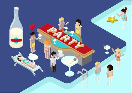 Parte plana 3D isométrico moderno concepto de diseño composición iconos vectoriales. Alcohol fiesta en la piscina, bebiendo joven hombre y mujer, celebración navideña. Ilustración Web infografías elementos conceptuales. Foto de archivo - 48577768