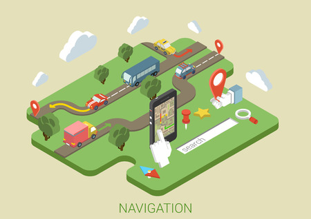 web icon: Flat map mobile phone GPS navigation ifographics 3d isometric concept. Phone with digital map, transport on roads (bus, car, van, truck), search bar magnifier glass, compass sign.