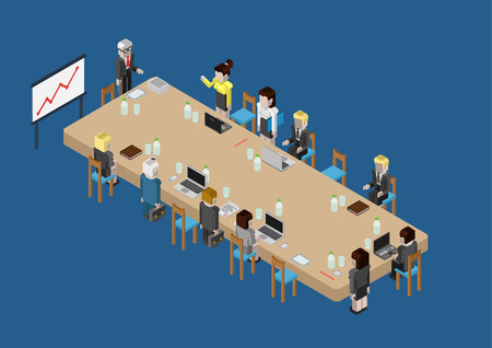 boss cartoon: Flat 3d isometric business meeting, skull session, council, presentation, get-together, palaver web infographic concept vector. Group of character people big table, boss in center by blackboard.
