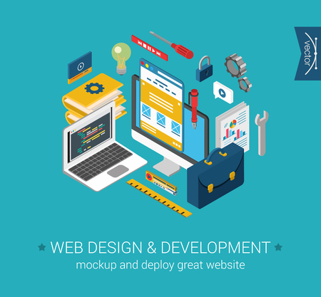 Web design, development, programming, coding, mockup flat 3d isometric modern design concept. Vector objects icon set. Laptop code, desktop interface. Web illustration and website infographics elements. Ilustração