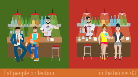 bar counter: Set of young men women boy girl friends in the bar counter and barman cocktail drink preparation. Flat people lifestyle situation concept. Vector illustration collection of young creative humans. Illustration