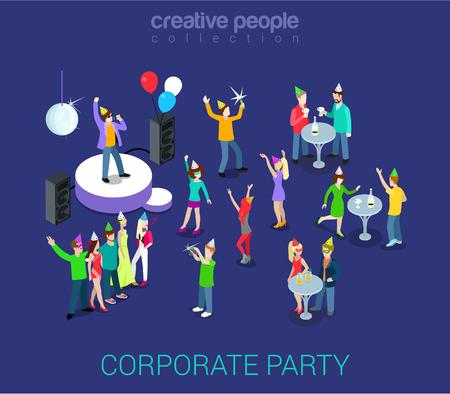 기업 파티, 휴일, 이벤트 팀 빌딩 플랫 3D 웹 아이소 메트릭 인포 그래픽 인간 관계 HR 개념 벡터 템플릿. 그룹 젊은 남자 여자 춤. 창조적 인 사람들이 세 일러스트