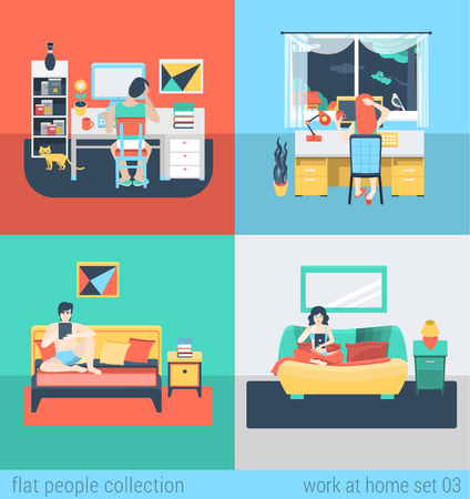 Set of young man woman home office freelance homework laptop tablet table workplace. Flat people lifestyle situation work at home concept. Vector illustration collection of young creative humans.  イラスト・ベクター素材