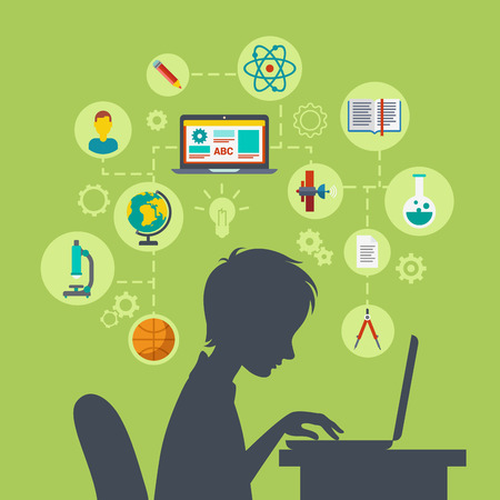 e work: Flat style modern web infographic e-learning, online education, knowledge power, perspective, future growing concept vector illustration. Young school boy silhouette over table with laptop excited.