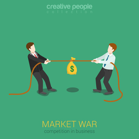 web marketing: Business competition marketing war flat 3d web isometric concept