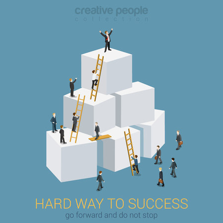 Way to success in business flat 3d web isometric infographic concept vector. Box pyramid with ladders, businesspeople climbing to the top and the winner. Creative people collection. Vectores