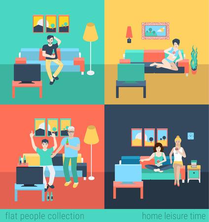 거실 TV를 시청 레저에 친구의 가족을 설정합니다. 플랫 사람들의 생활 상황 가족 여가 시간의 개념. 젊은 창조적 인 인간의 벡터 컬렉션입니다.