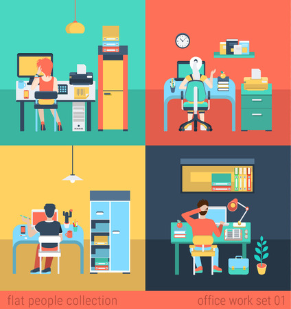 cartoon fireplace: Set of young man woman home office freelance homework laptop table workplace. Flat people lifestyle situation work at home concept. Vector illustration collection of young creative humans. Illustration