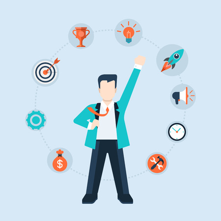 hero: Flat style modern businessman leadership time management concept vector icon collage. Business man CEO leader in suit stands with fist hand up like hero. Activity, target, idea, promotion icons around Illustration