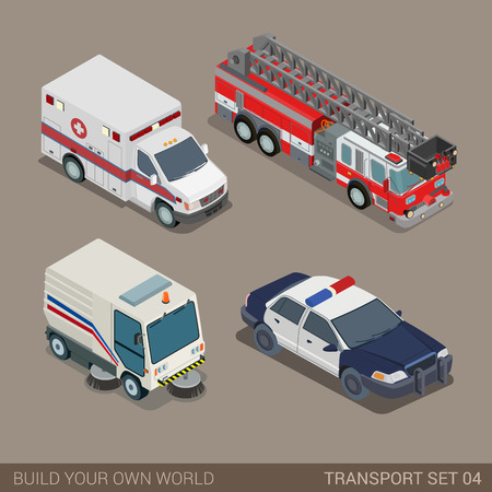emergency: Flat 3d isometric high quality city municipal emergency road transport icon set. Ambulance fire department police sedan dept pavement sidewalk cleaner. Build your own world web infographic collection.