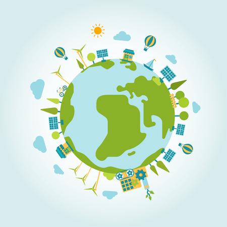 wereldbol: Eco groene energie levensstijl planeet wereld op bol moderne vlakke stijl template. Windmolen en zon batterij, eco vervoer, niet vervuilende fabriek de productie, bomen en wolken. Ecology concepten collectie.