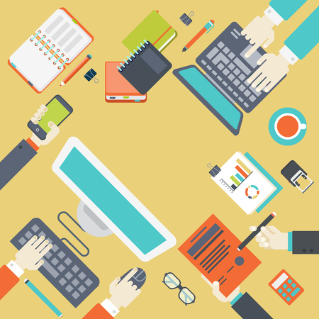 gestion documental: Estilo de banda plana infograf�a modernas concepto para el lugar de trabajo de oficina digital. Top mesa escritorio vista con el ordenador, port�til, manos, agenda, bloc de notas, informe, contrato, documento. Trabajo en equipo, gesti�n de proyectos.