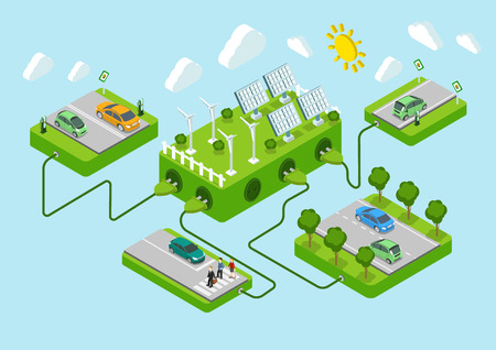 green man: Electric cars flat 3d web isometric alternative eco green energy lifestyle infographic concept vector. Road platforms, sun battery, wind turbine, power cords. Ecology power consumption collection.