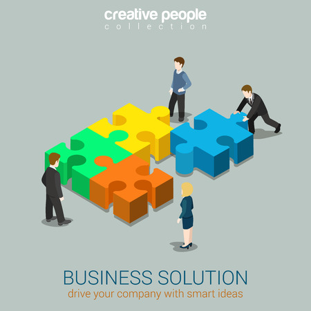 design solutions: Business solution smart idea concept flat 3d web isometric infographic vector. Four businessmen solving pushing pieces of puzzle. Creative people collection. Illustration