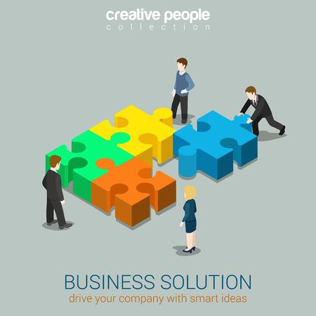 Concepto de idea inteligente de solución de negocio plano 3d web isométrica vector de infografía. Cuatro hombres de negocios resolviendo empujando piezas de rompecabezas. Colección de personas creativas.