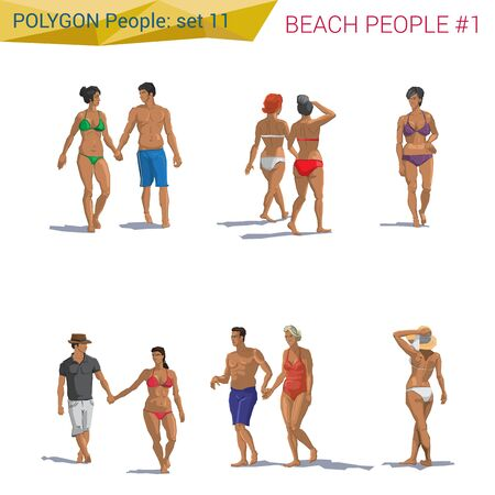 casual dress: Polygonal style beach people walking set. Polygon people collection. Illustration