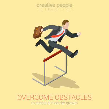 Overcome obstacle crisis risk avoid business problem trouble concept flat 3d web isometric infographic vector. Businessman jump over earth ground crack rift. Creative people collection.