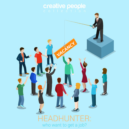 job vacancies: Headhunter HR job offer vacancy flat 3d web isometric modern trendy stylish concept vector illustration. Boss fishing rod with vacancy for candidates crowd. HR conceptual collection.