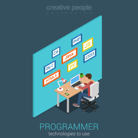 css3: Flat 3d isometric program software app developer workplace concept. Web programmer business analyst code developer junior middle coder team leader product owner infographics. Internet technology.