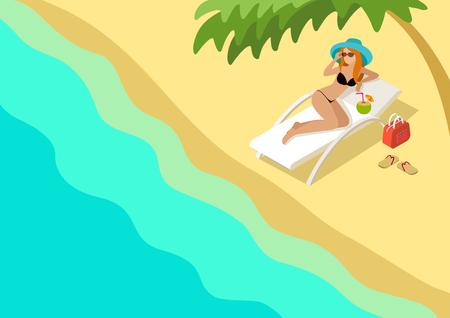 gente: Hermosa playa plana 3d web isométrica plantilla vector de concepto de viaje de vacaciones infografía. Pelirroja de dibujos animados sexy joven salón de cócteles para tomar el sol femenina bajo la palmera. Colección de la gente creativa.