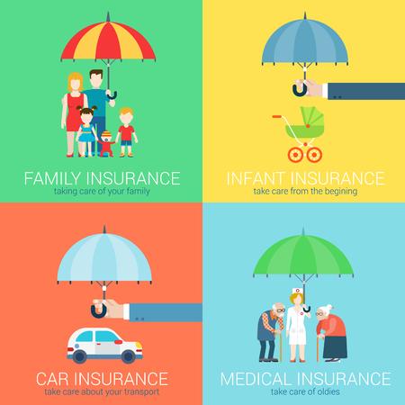 4-in-1 verzekeringsbedrijf moderne flat set van begrip vector illustratie pictogrammen. Gezinsleven, baby baby kinderen, vervoer auto voertuig, gezondheid medische oldies seniliteit zorgbeleid.