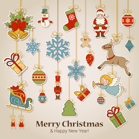 christmas greeting: Merry Christmas and Happy New Year sticker label decorations modern style vector postcard template. Stylish concept icons set of Xmas and winter holidays. Collection of celebration object and item.