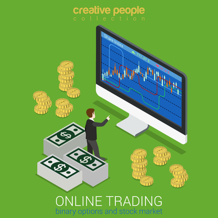 stocks: Stock exchange binary option online trading finance instrument market tools flat 3d web isometric infographic concept vector. Mini stock trader before hue monitor graphic. Creative people collection.