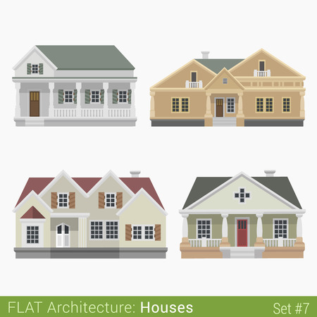 front: Flat style modern buildings countryside suburb townhouse houses set. City design elements. Stylish design architecture real estate property collection.