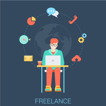 telework: Freelance work flat web infographic concept vector. Young stylish freelancer man with laptop sitting working by the table. Global telework conceptual vector illustration. Creative people collection.