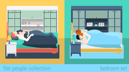 Set of family couple in bedroom bed sleeping sex love romance. Flat people lifestyle situation husband wife family concept. Vector illustration collection of young creative humans.