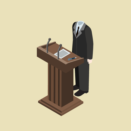 Politics concept faceless headless body on tribune flat 3d web isometric infographic vector. Symbol of impersonal politic leader without head speech. Creative people collection.