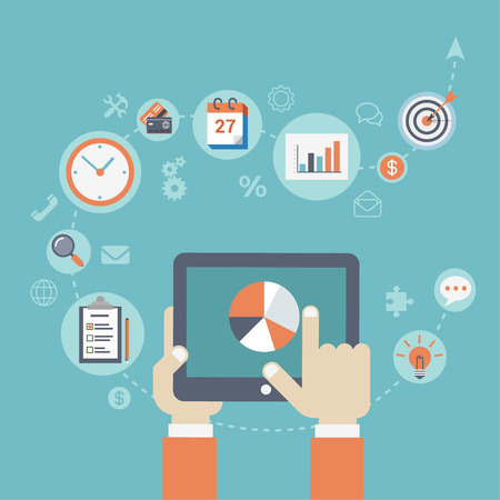 planificacion: Estilo plana moderna estrategia de negocio planificaci�n concepto infograf�a. Conceptual web ilustraci�n mano gr�fico de la carta conmovedora tableta, iconos de negocios lista de verificaci�n, planificar, hacer, reloj, calendario, objetivo. Vectores