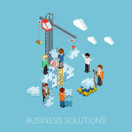 solutions: Flat 3d isometric business solutions web infographic concept vector. Crane construction building puzzle pieces. People constructing, manager boss foreman, pallet. Innovations, teamwork and leadership.