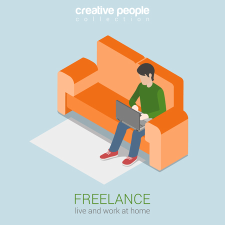 freelancer: Freelance work at home flat 3d web isometric infographic concept vector. Freelancer young man on sofa working on laptop. Modern home office workplace concept.
