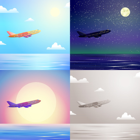 vintage plane: Flat airplane aircraft flying in sky above sea stylish modern travel scene set. Stylish web banner nature outdoor collection. Daylight night moonlight sunset view retro vintage plane picture sepia.