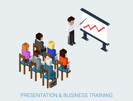 training business: Flat 3d isometric business meeting, skull session, council, presentation, get-together, palaver web infographic concept vector. Group of character people conference hall blackboard chart graphic. Illustration