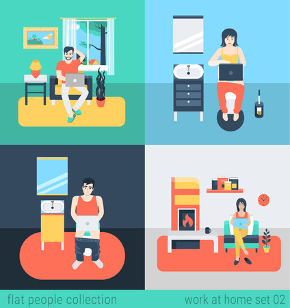 lifestyle home: Set of young man woman freelance homework in living room WC bathroom toilet water closet. Flat people lifestyle situation work at home concept. Vector illustration collection of young creative humans. Illustration