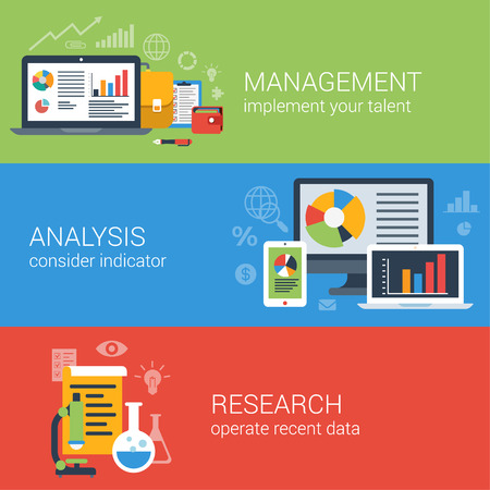 data management: Flat style business analysis analytics management and research infographic concept. Laptop graphic interface, chart data, microscope flask web site icon banners templates set.