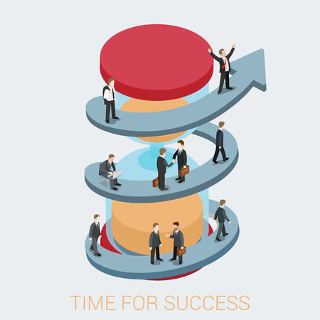 business time: Time success flat 3d web isometric infographic business concept Illustration
