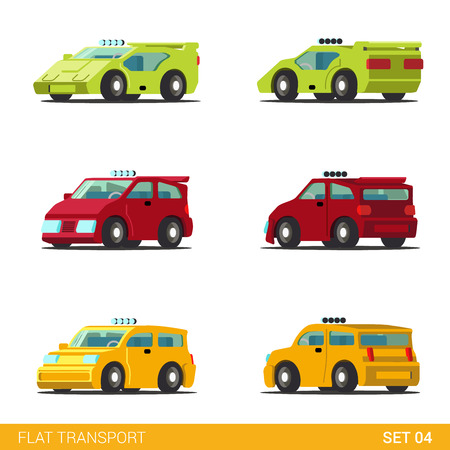 sportscar: Flat 3d isometric funny road transport icon set. Sportscar supercar hatchback taxi cab car. Build your own world web infographic collection.