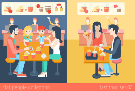 fastfood: Set of stylish family mom dad boy girl children kids couple sitting fastfood table. Flat people lifestyle situation fast food cafe restaurant meal time concept. Vector illustration creative collection.