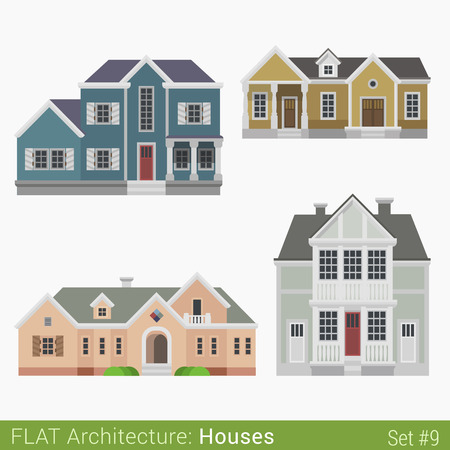 townhouse: Flat style modern buildings countryside suburb townhouse municipal church houses set. City design elements. Stylish design architecture real estate property collection. Illustration