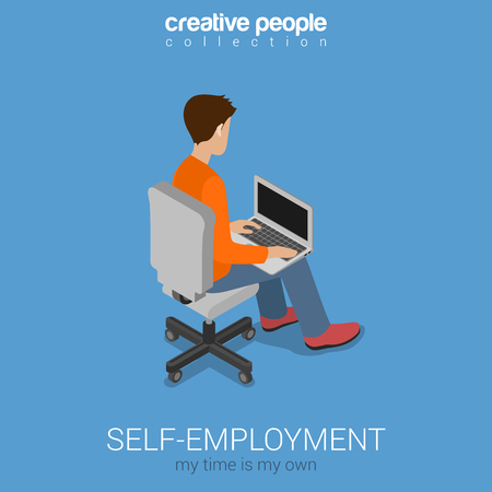 freelancer: Self-employment freelance work on chair knees flat 3d web isometric infographic concept vector. Freelancer young man working on laptop. Modern work style workplace concept.