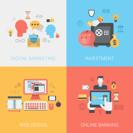 mobile banking: Digital marketing, investments, web design, online banking concept. Vector icon banners template set. Social media promotion, piggy bank safe, money bag. Web illustration. Website infographic element. Illustration