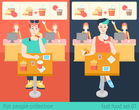 fast meal: Set of stylish hipster boy and girl sitting fastfood table. Flat people lifestyle situation in fast food cafe restaurant meal time concept. Vector illustration collection of young creative humans. Illustration