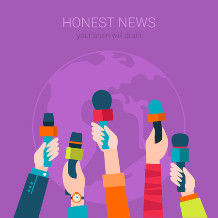 hot news: Honest news hot information flat modern design concept vector. TV television newspaper global media mobile web banner illustration website click infographics. Hands with microphones for interview.