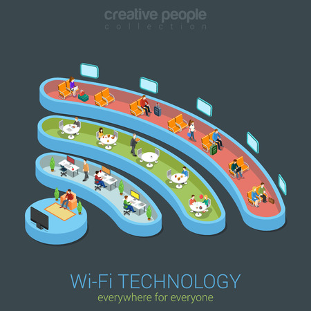 wireless connection: Public Wi-Fi zone wireless connection icon flat 3d isometric