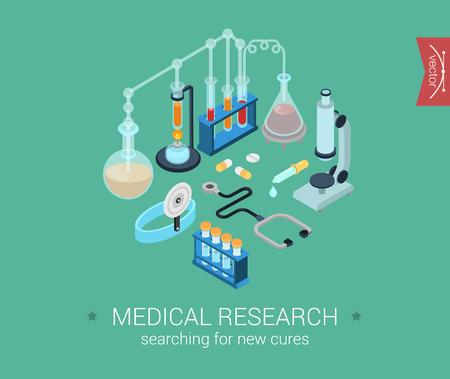 microscopio: La investigación médica plana 3d pixel art isométrica iconos del diseño moderno de vector de concepto de composición de los kits. píldoras microscopio, frasco, bulbo, de curación. Colección de los elementos de infografía web plana para el sitio web. Vectores
