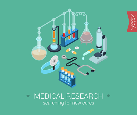 Medical research flat 3d isometric pixel art modern design concept vector icons composition set. Microscope, flask, bulb, cure pills. Flat web infographics elements collection for website.